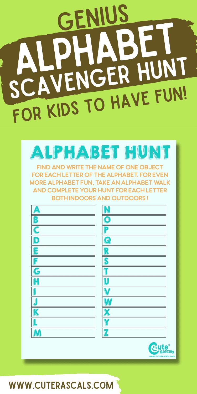 Excellent Alphabet Scavenger Hunt For Kids: Indoor Adventure