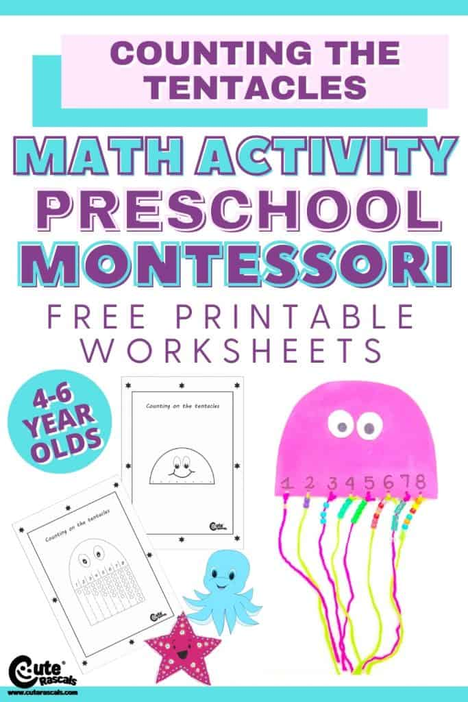How many tentacles? Counting activity for preschoolers with free printable worksheets.