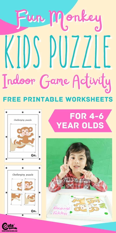 Fun indoor games for kids. Monkey puzzle activity for preschoolers.