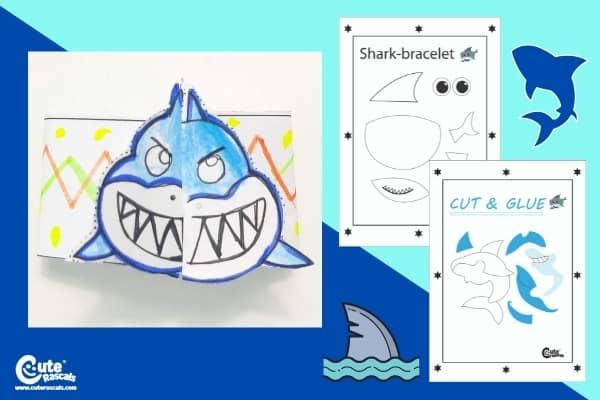 Shark Bracelet Fun Easy Crafts for Kids Worksheets (4-6 Year Olds)