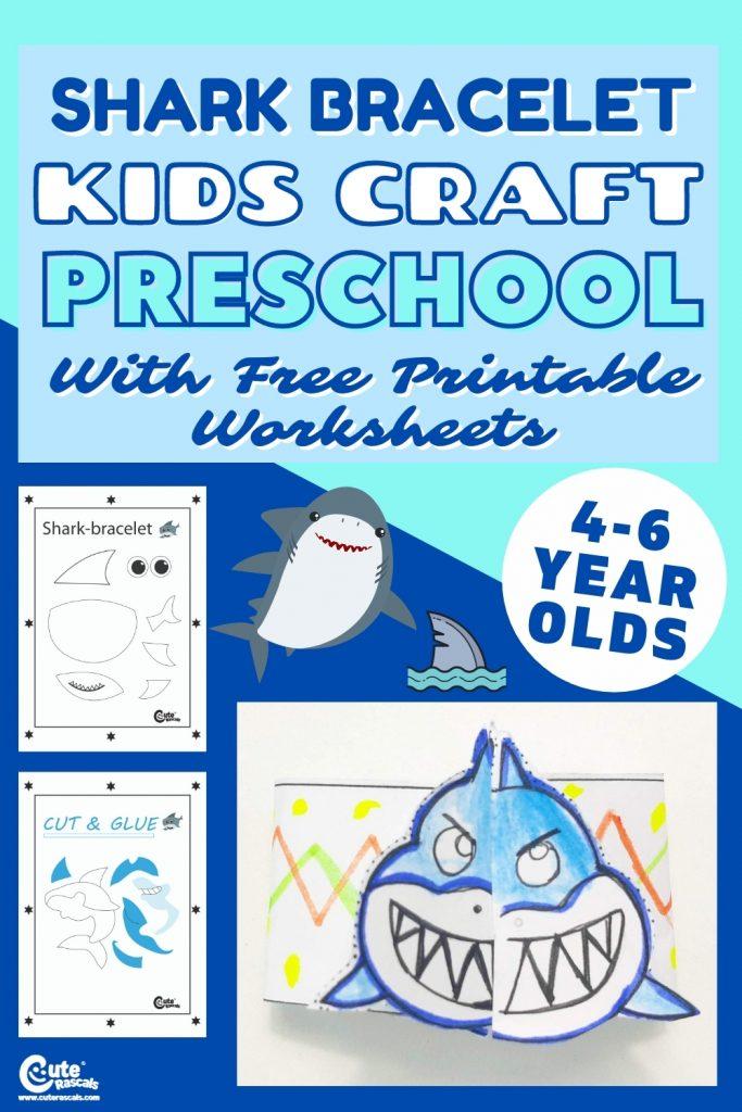 Shark bracelet fun easy crafts for kids with free printable worksheets