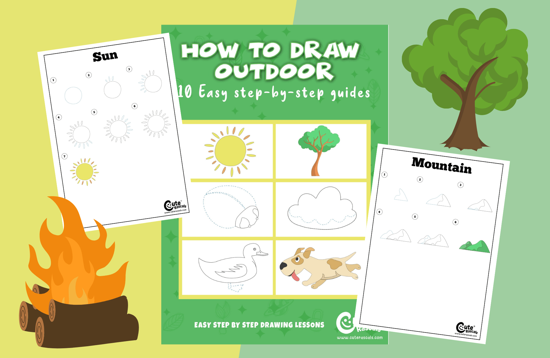 How To Draw Guides: Cute Outdoor Items In Easy Steps (Clouds, Trees & More)