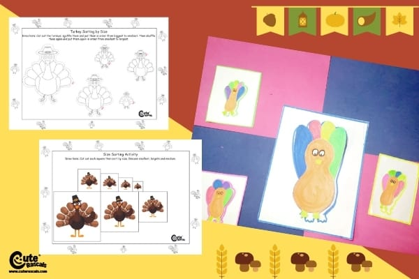 Thanksgiving Turkey Big and Small Concepts Montessori Activity for Kids (4-6 Year Olds)