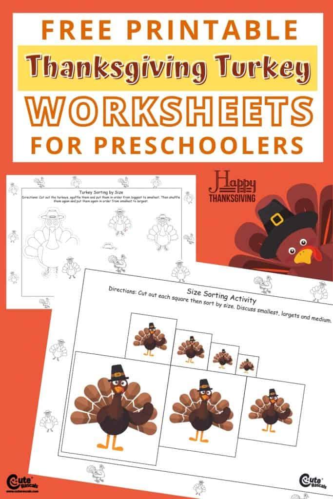 Free printable turkey worksheets