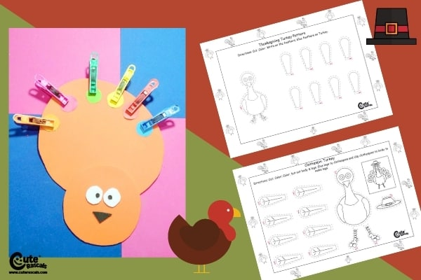 Thanksgiving Fine Motor Activity for Kids Put the Clothespins on the Turkey (4-6 Year Olds)
