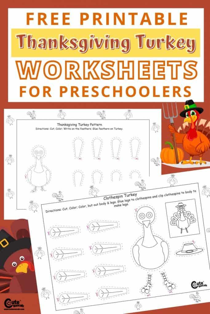 Free printable turkey worksheets for Thanksgiving