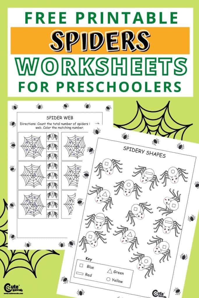 Free printable spiders worksheets for kids