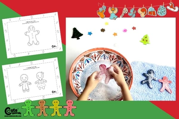 Cookies in the Water Indoor Sensorial Christmas Activity for Toddlers with Printable Worksheets (2-4 Year Olds)