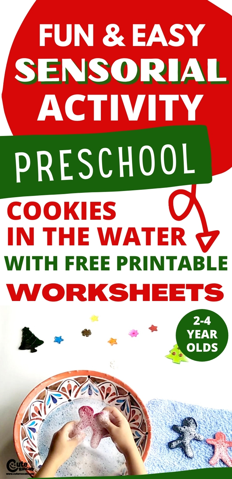 Cookie in the water. Christmas activity for toddlers.