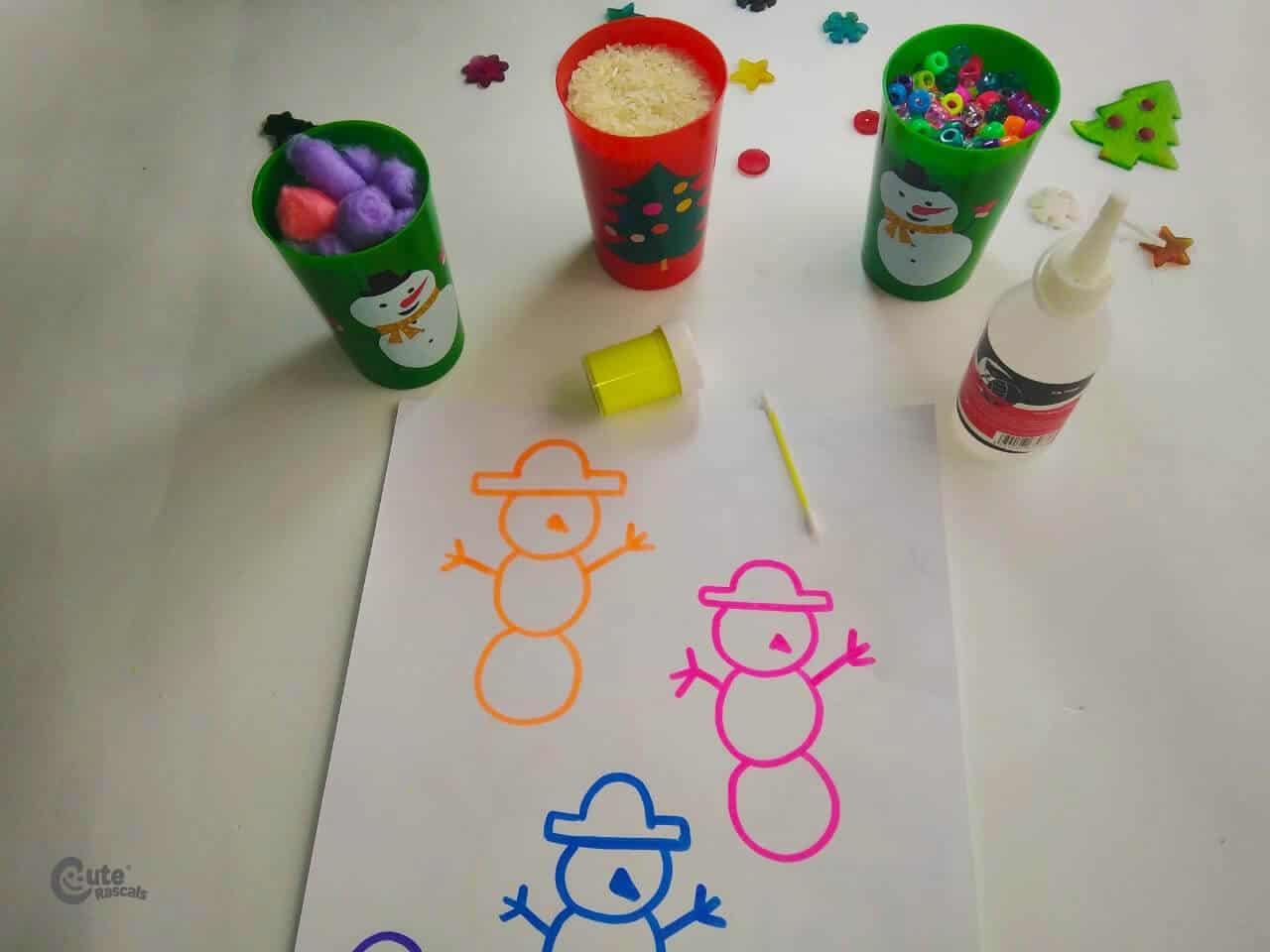 Materials Play With the Snowmen kids activity. Fun snowman craft preschool.