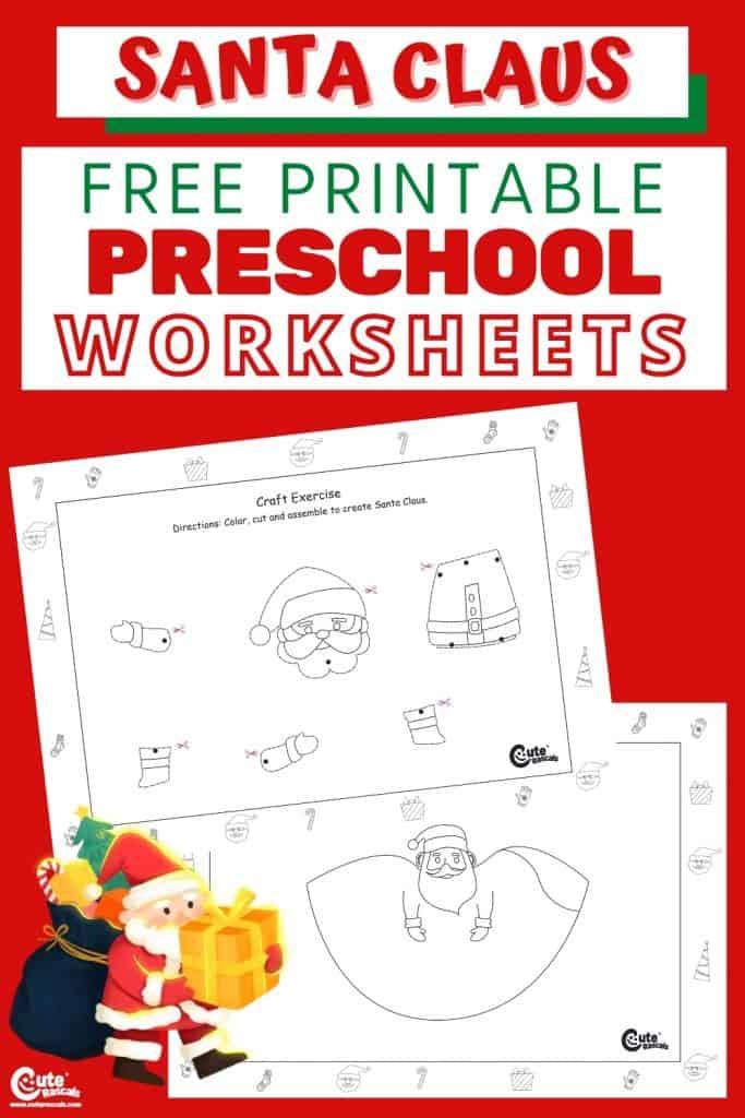 Free printable Santa Claus worksheets