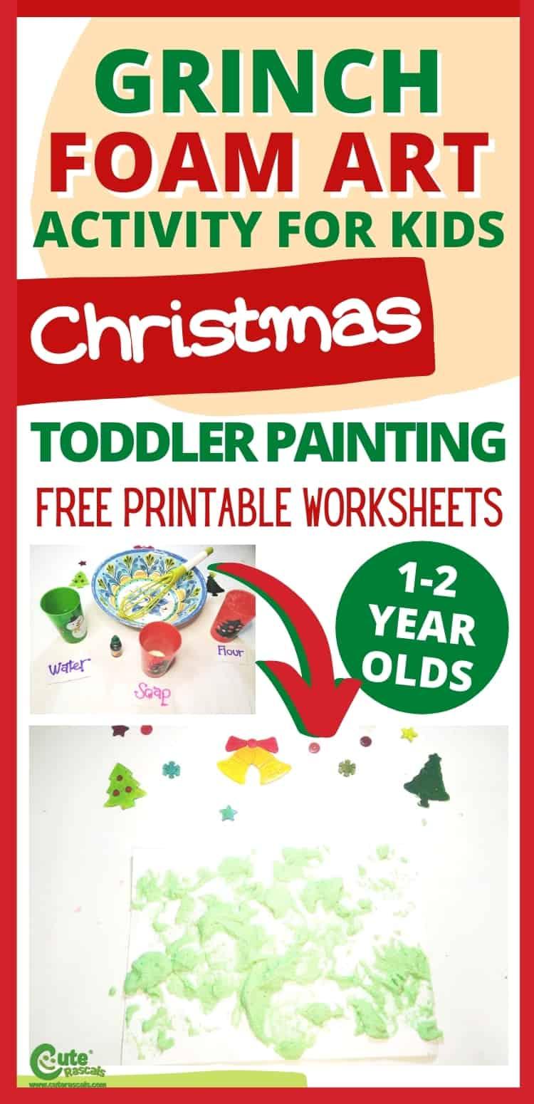 Fun Grinch foam art. Easy Christmas painting activity for preschoolers.