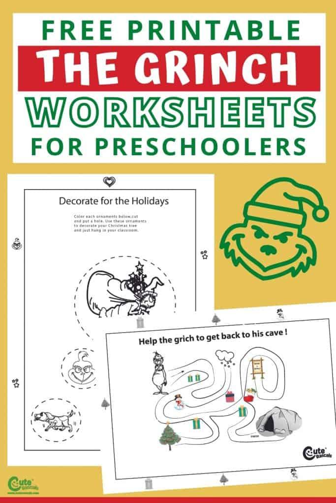 Grinch fun worksheets for preschoolers