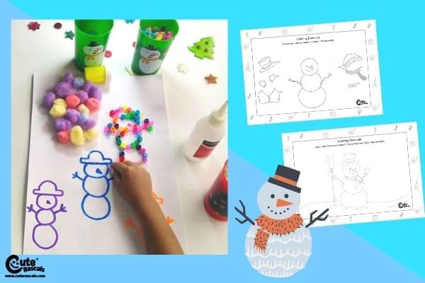 Play with Snowman Craft Preschool Fine Motor Skills Montessori Worksheets (4-6 Year Olds)