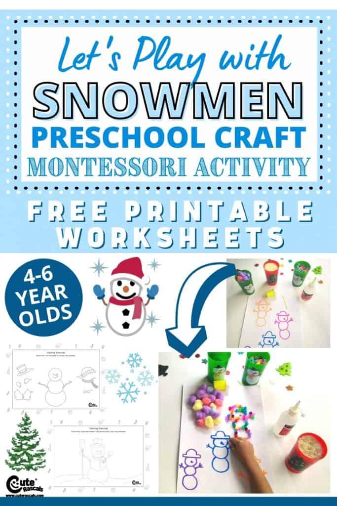 Let's play with snowmen. Fun snowman preschool craft Montessori activity