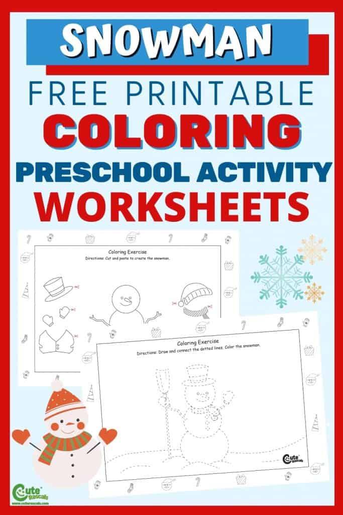 Free printable snowman worksheets