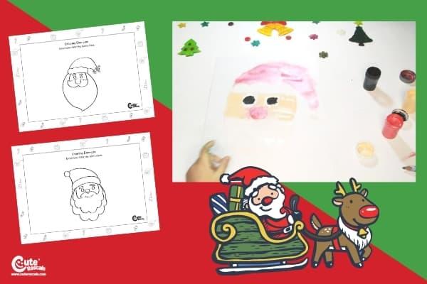 Santa Claus Drawing Christmas Art for Kindergarten Worksheets (4-6 Year Olds)