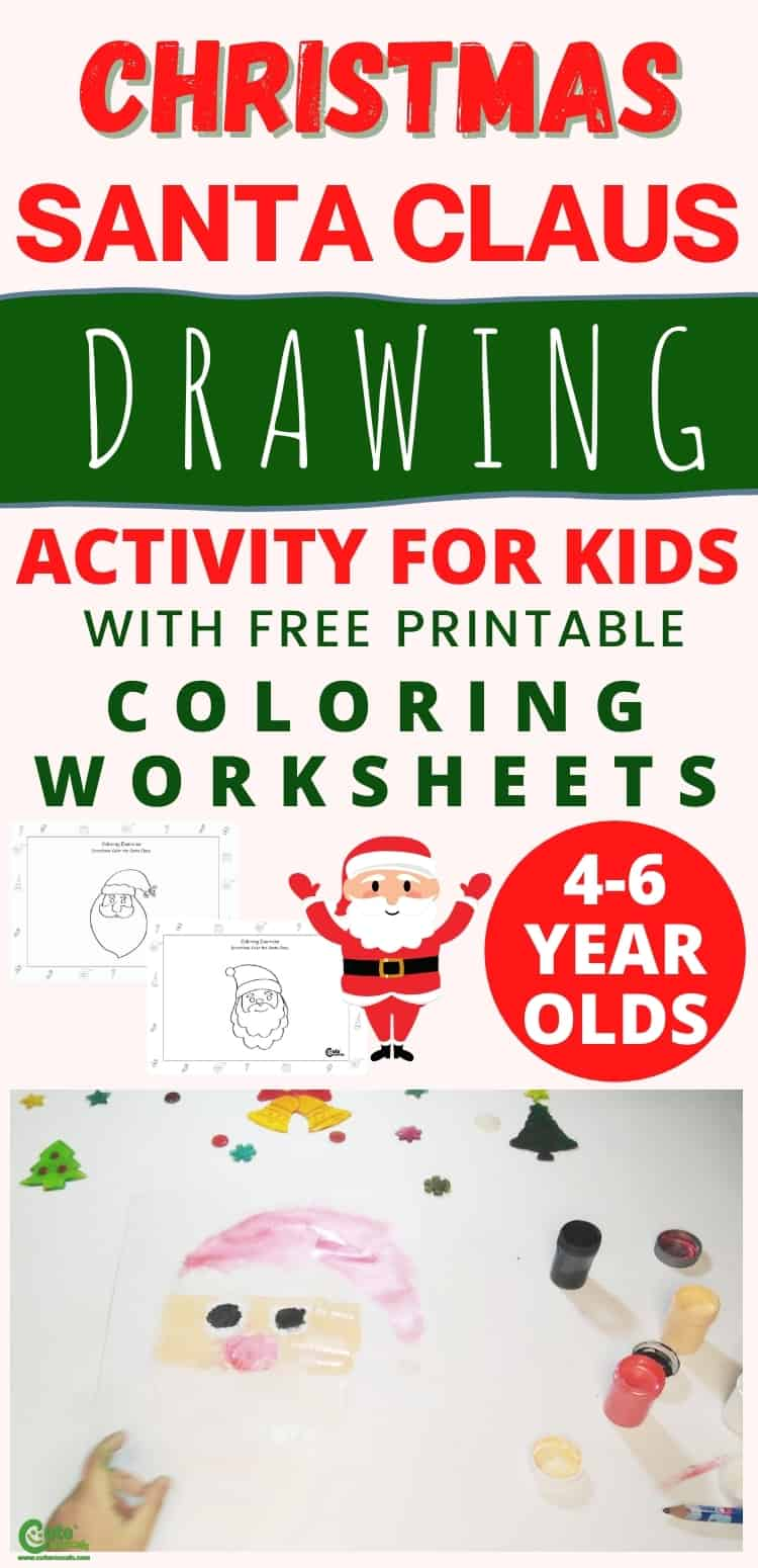 Christmas Santa Claus drawing and painting activity for kids. Easy Christmas activity for preschoolers.