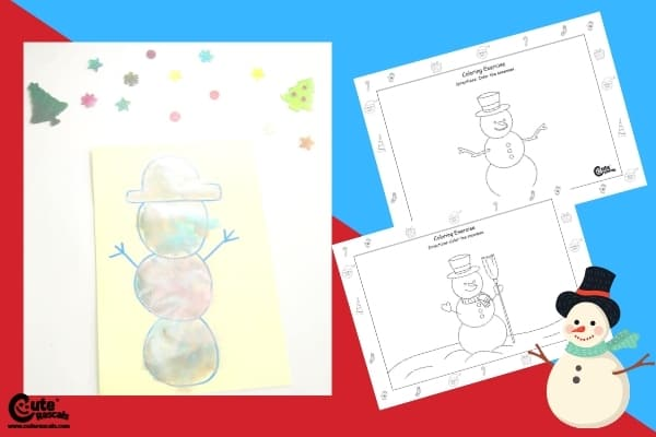 Colorful Snowman Easy Kids Drawing Activity with Preschool Worksheets (4-6 Year Olds)