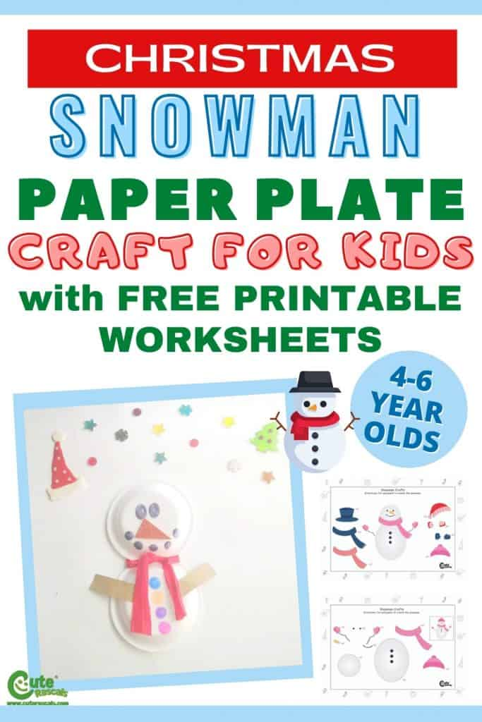 Snowman paper plate art craft for kids for Christimas and winter.