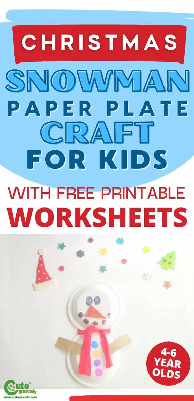 Snowman paper plate craft for kids. Easy Christmas activity for preschoolers.