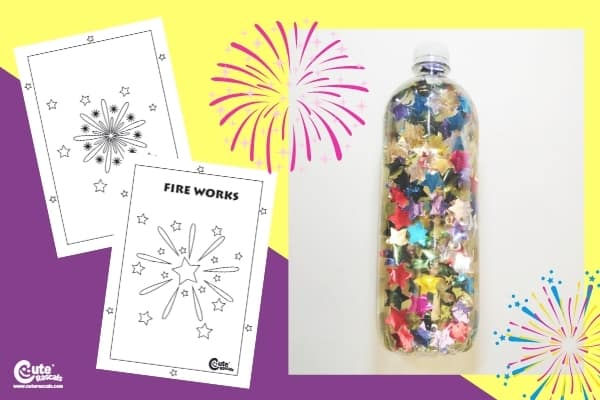 New Year Color of Fireworks Bottle Craft Toddlers Sensory Play Pre-K Worksheets (1-2 Year Olds)