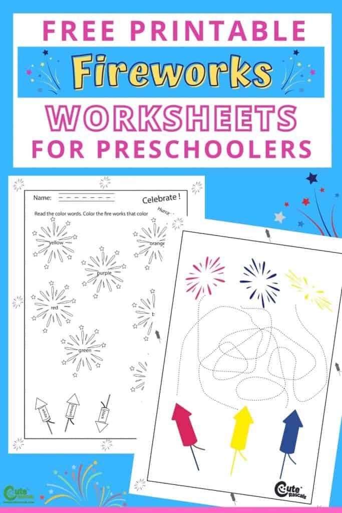 Free printable fireworks worksheets for preschoolers