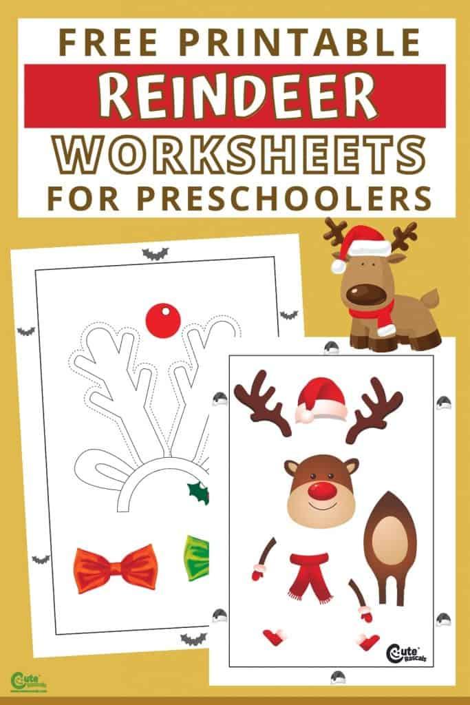 Free printable reindeer worksheets