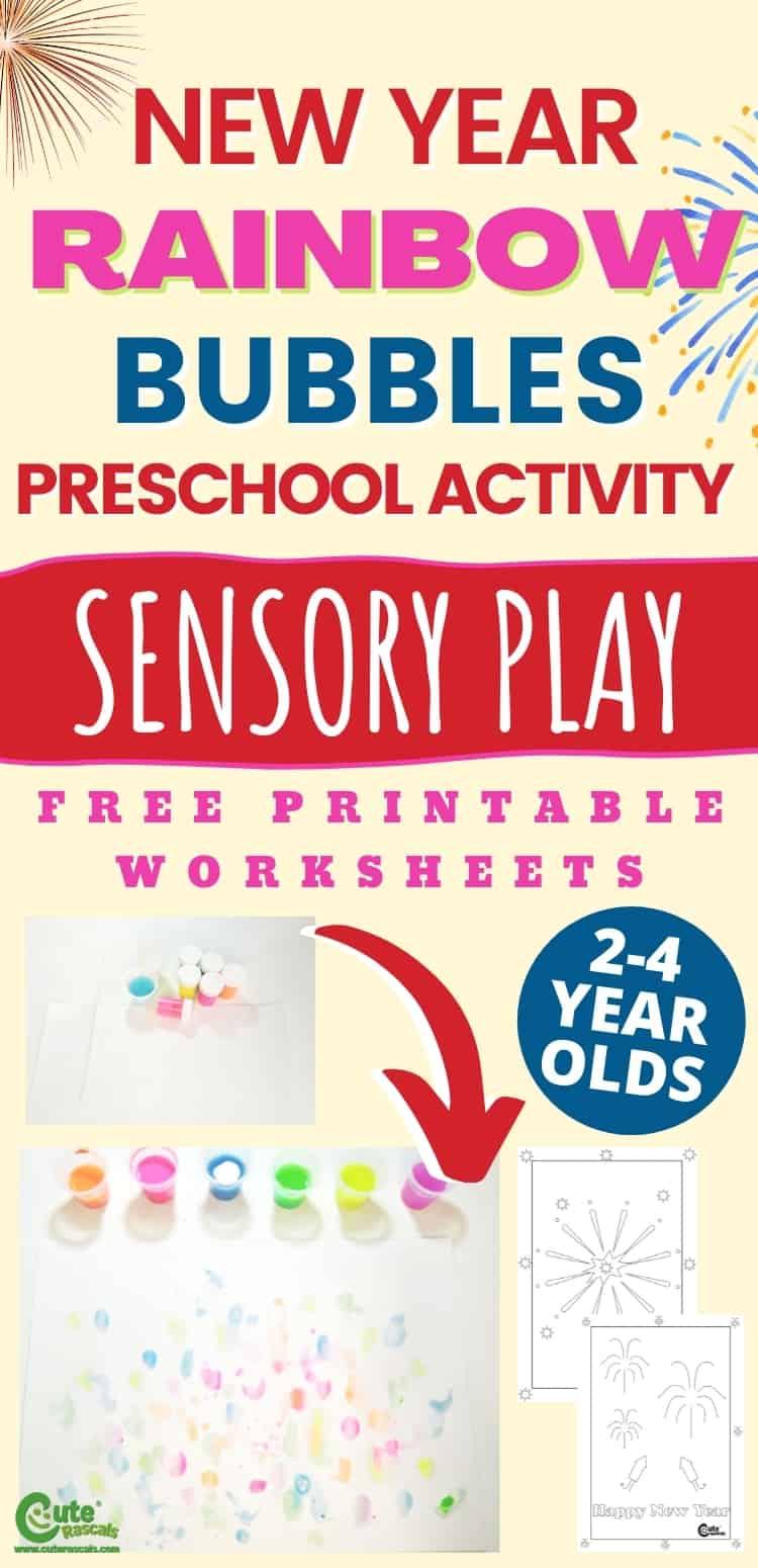 Super easy fun activity for preschoolers. Rainbow bubbles sensory activity.