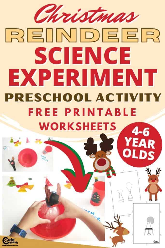 Christmas reindeer balloon science experiment for preschoolers