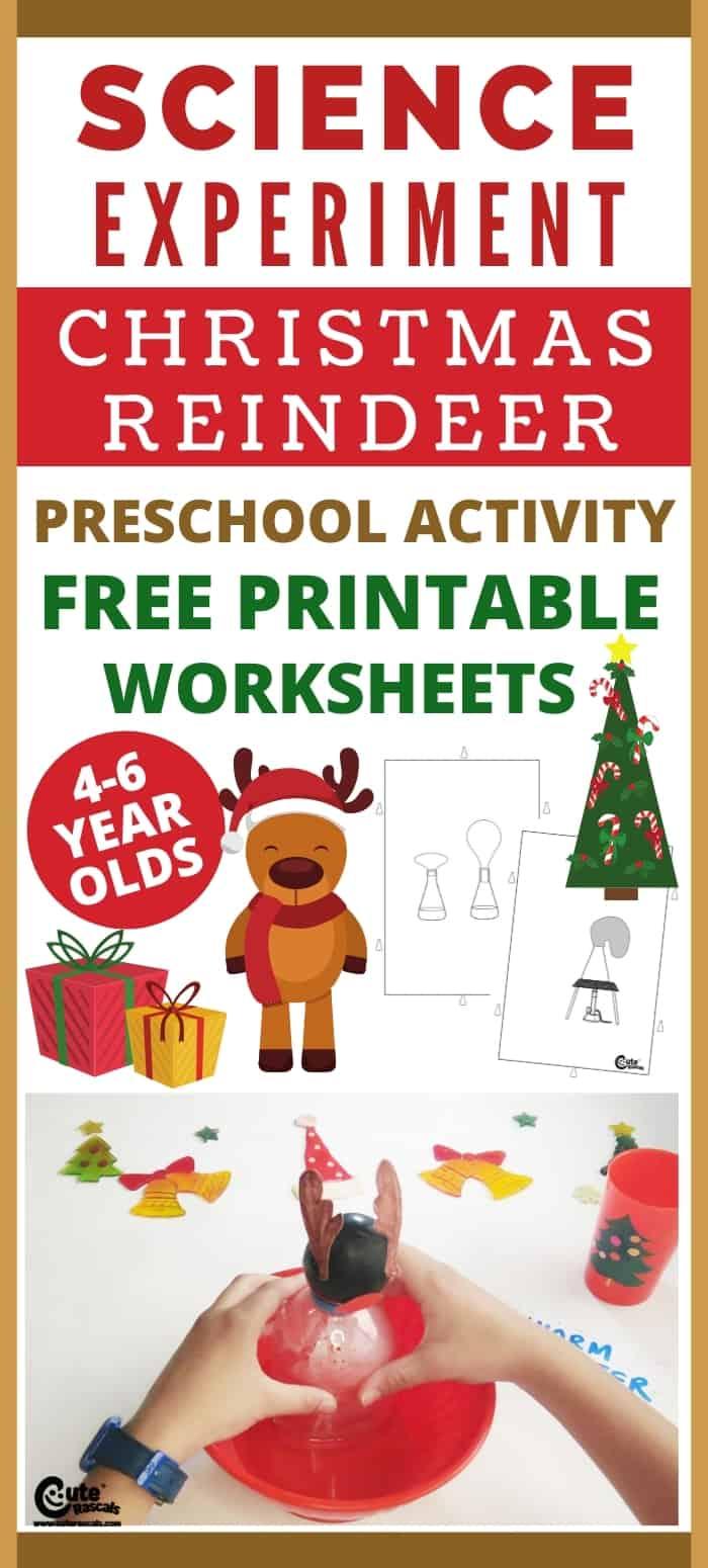 Super easy Christmas activity for preschoolers. Reindeer balloon science experiment.