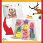 Reindeer Craft Christmas Math Game Montessori Worksheets (4-6 Year Olds)