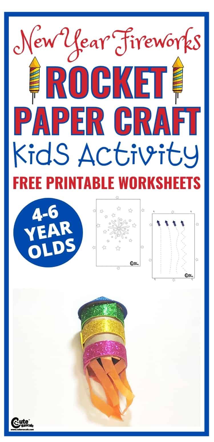 Super easy fun craft activity for preschoolers. Fireworks paper rocket craft for preschoolers.