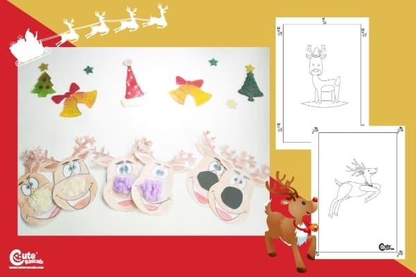 Funny Sensory Reindeer Craft for Kids Montessori Worksheets (1-2 Year Olds)