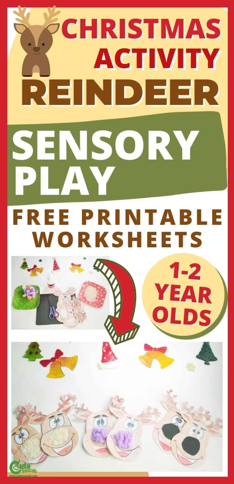 Super easy Christmas activity for preschoolers. Sensory reindeer craft.