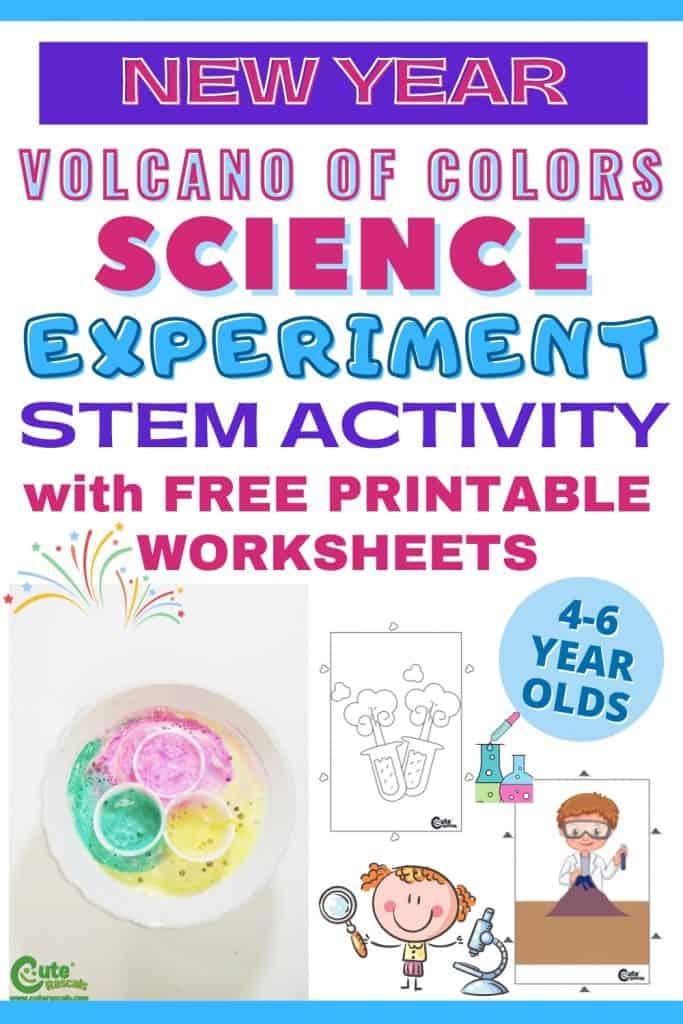 Volcano of colors fun preschool science experiment for kids.